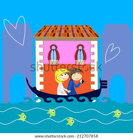 Love in Venice illustration with a couple of tourists sitting in a gondola. Tourists make photos of the city. Hearts above all pictures. Fish swimming below following the boat.Cartoon. Vector art. - stock vector