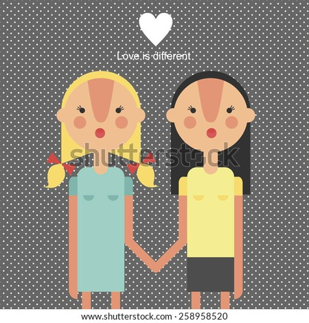 Love is different. gay family vector. heterosexual, lesbian couples - isolated vector illustration - stock vector