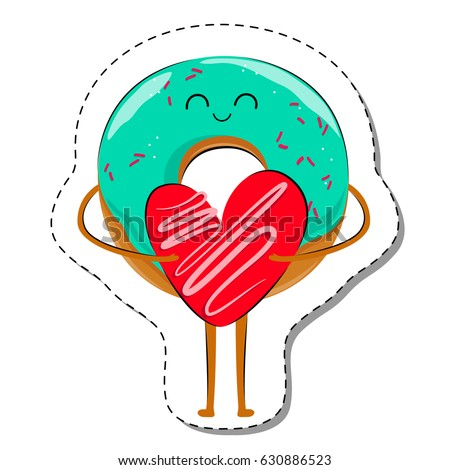 Love is donut in love sticker cute cartoon food emoticon with heart
