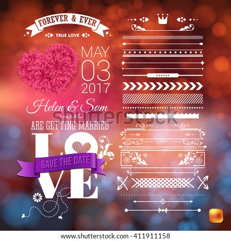 Love is everywhere we are getting married stationery with little heart shapes, assorted frame and border objects over obscured background - stock vector