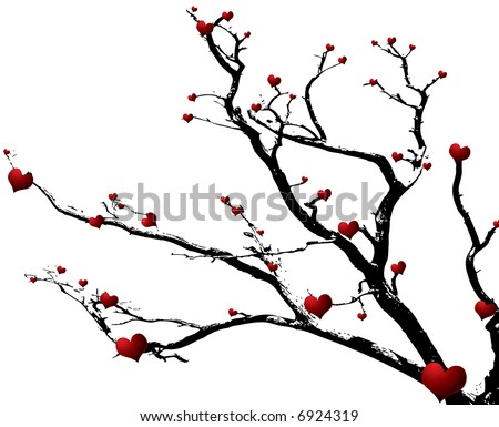 love is growing on this abstract tree design for the valentine season