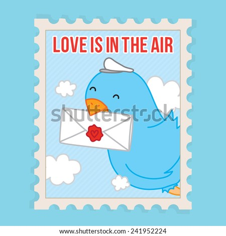 Love is in the air. Valentines Day vector postcard illustration - stock vector