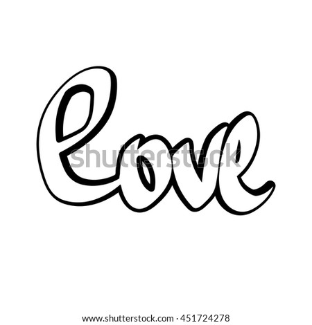 Love, isolated sticker, calligraphy lettering, word design template for typography greeting and t-shirt print, vector illustration - stock vector