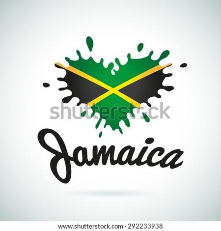 Love Jamaica lettering Heart illustration, carribean music logo design. African flag print - stock vector