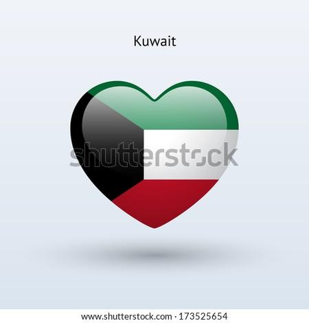 Love Kuwait symbol. Heart flag icon. Vector illustration. - stock vector
