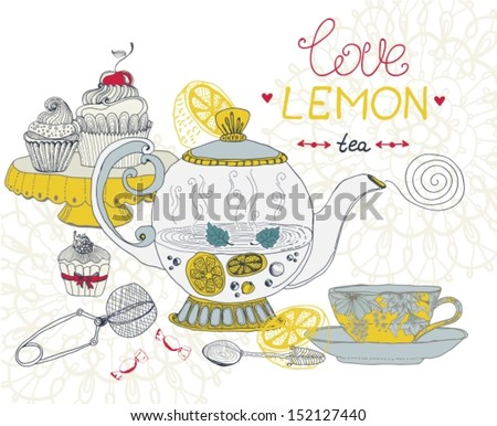 love lemon tea card, beautiful hand drawn illustration, Vector