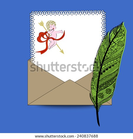 Love letter fancy feather pen, paper, envelope - stock vector