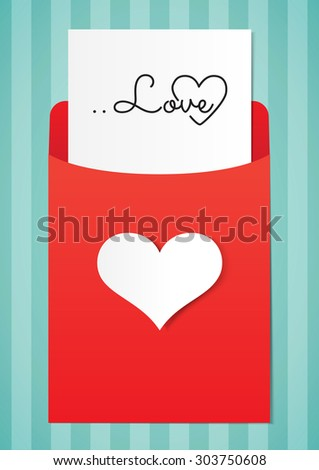 Love letter paper graphics on stripe background