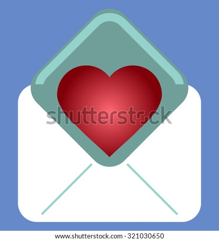 Love letter. Valentine Day love beautiful. Envelope with heart - stock vector