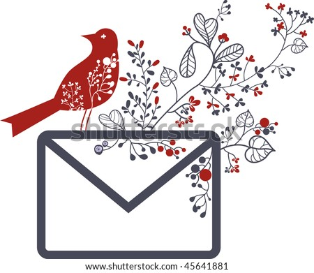 love letter with bird - stock vector