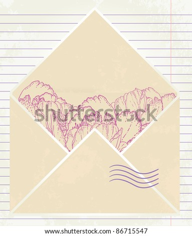 Love letter with flower on paper background - stock vector