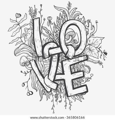 Love Letter Writing Typography With Floral Sketch Around