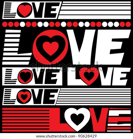 love lettering, vector design elements - stock vector