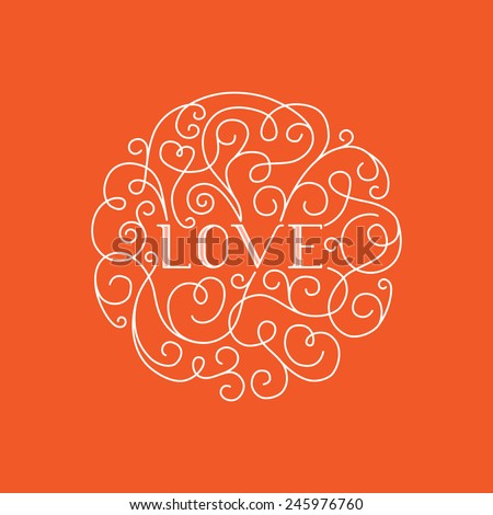 Love lettering - vector line design element for valentine's day greeting card - stock vector