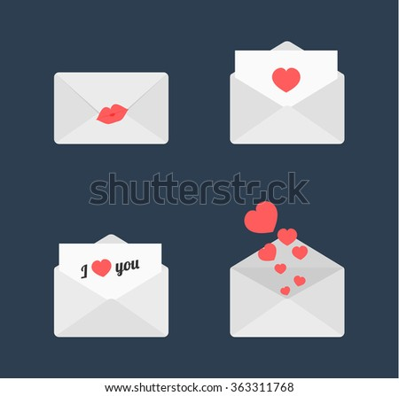 Love letters vector set - stock vector