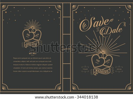Love Locked/ Love story book theme wedding card/ happily ever after/ Save the date/ Love masthead/ wedding proposal - stock vector