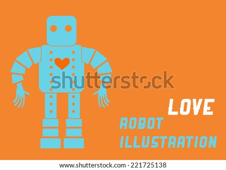 Love machine Robot illustration - stock vector