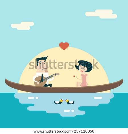 Love Male and Female on Gondola Cartoon Characters Valentine's Day Icons Greeting Card Concept Stylish Background Flat Design Template Vector Illustration - stock vector