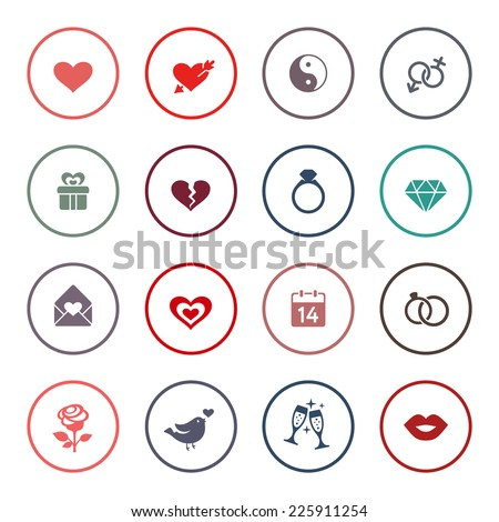 Love, marriage, engagement and Valentin's day icon set