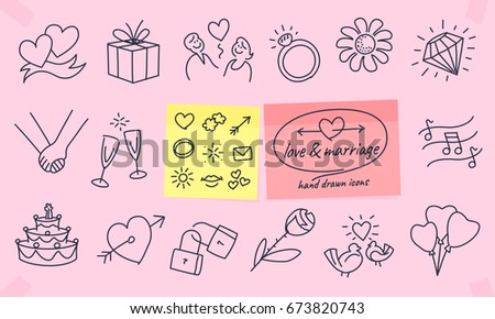 Love & marriage hand drawn icons. Full vector illustrations with editable strokes.