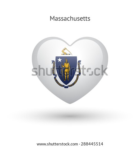 Love Massachusetts state symbol. Heart flag icon. Vector illustration. - stock vector