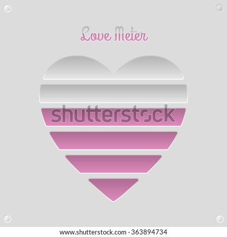 Love meter concept with 6 fillable levels  - stock vector