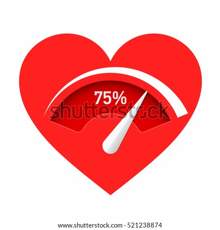 Love meter. Red heart with gauge vector illustration.