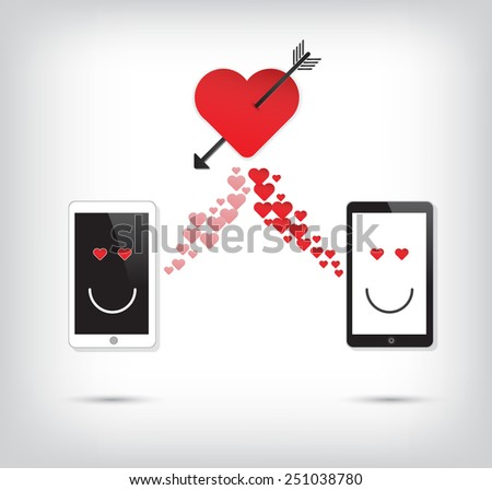 Love Mobile phone with heart and arrow vector icon  - stock vector