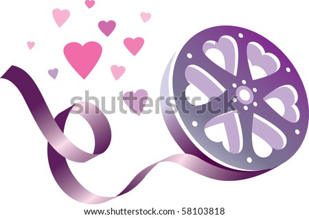Love movie reel with hearts
