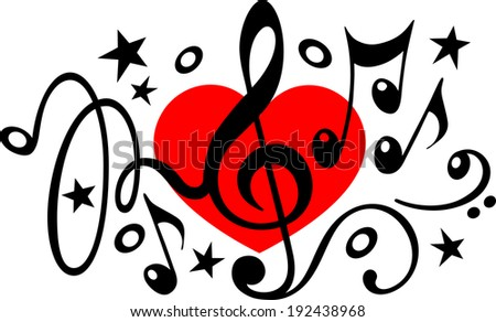 Love music - treble clef - music notes - heart - stock vector