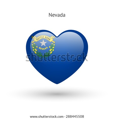 Love Nevada state symbol. Heart flag icon. Vector illustration. - stock vector
