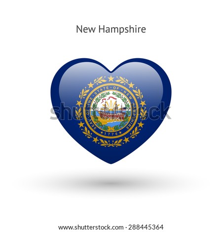 Love New Hampshire state symbol. Heart flag icon. Vector illustration. - stock vector