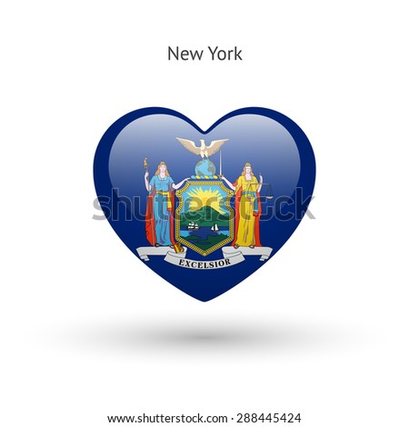 Love New York state symbol. Heart flag icon. Vector illustration. - stock vector