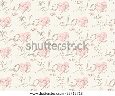 Love note Seamless text pattern with hearts. Text backgrounds applicable in printing, textiles , art objects , clothing , wallpaper , computer screensavers , games and applications . - stock vector