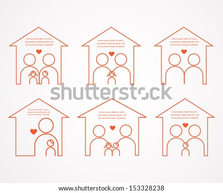 love of a family. set of six houses and different families - stock vector