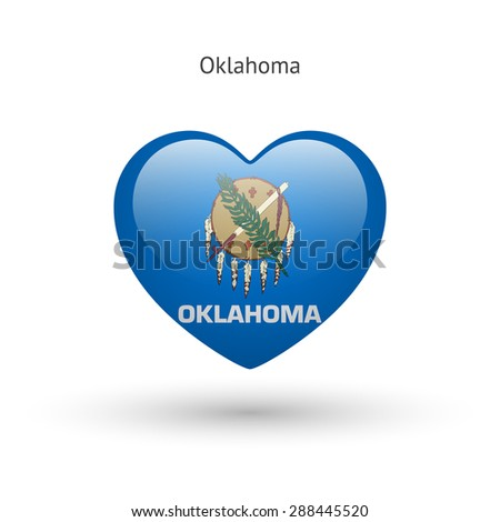 Love Oklahoma state symbol. Heart flag icon. Vector illustration. - stock vector