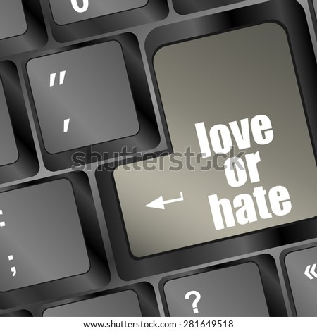 love or hate relationships communication impressions ratings reviews computer keyboard key, vector - stock vector