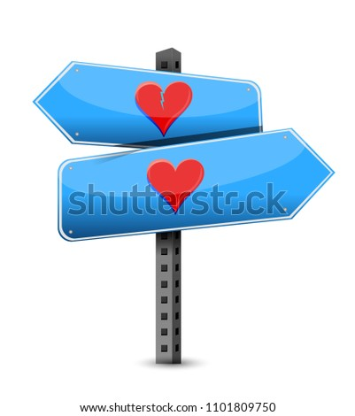 Love or not sign destination. Vector Illustration. isolated over a white background