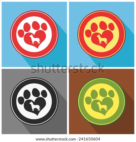 Love Paw Print Modern Flat Design Icon. Vector Collection Set - stock vector