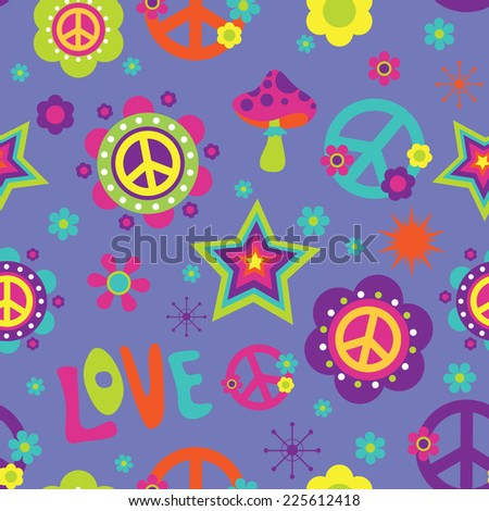 Love Peace Psychedelic seamless pattern - stock vector