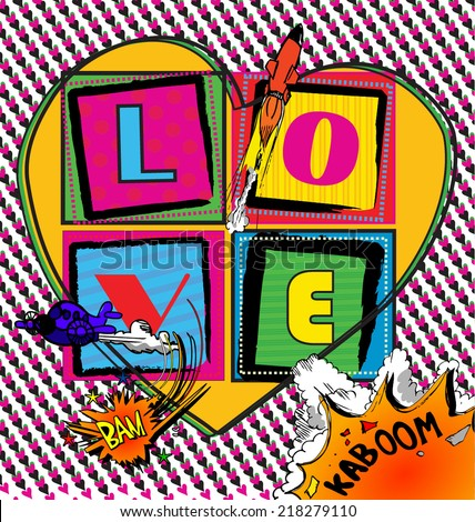 Love Pop art Card with comic book style