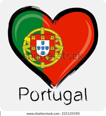 love,Portugal grunge flag  - stock vector