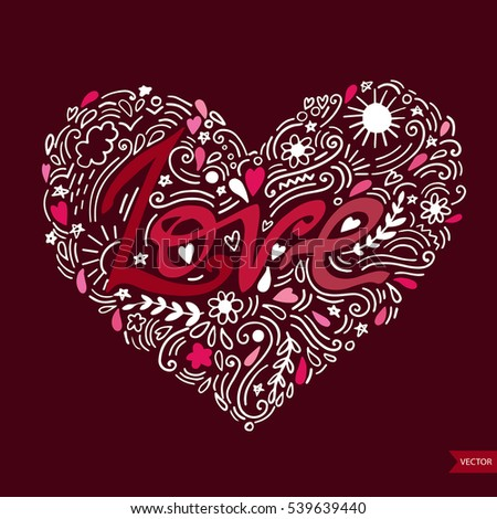 Love postcard. Lettering Love. Ink illustration. Modern brush calligraphy. Isolated on white background.