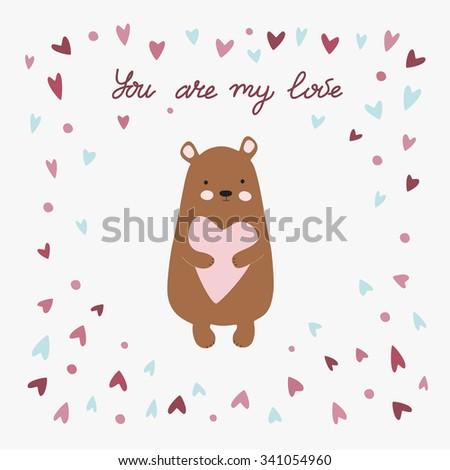 Love printable with cute bear holding heart. You are my love printable with cute bear - stock vector