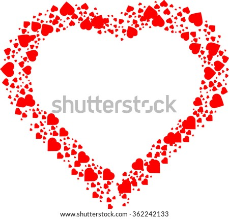 Love  Red frame . Valentine's Day Heart Background .
