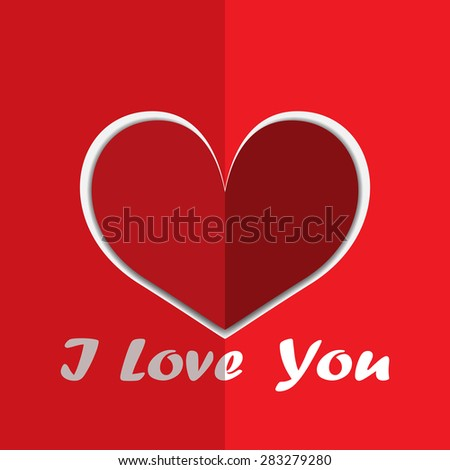 love red heart from paper vector illustrator background.