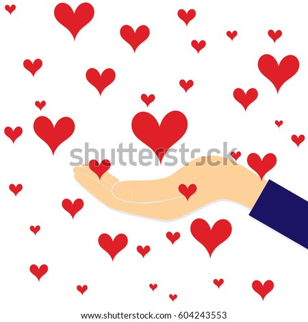 Love red heart in hand to woman like background . Vector illustration .