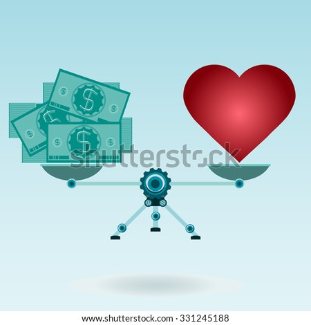 Love, red heart or made money. Business and living, balance dollar and love. Red heart and dollar bills on the scales. Love for money, buy feelings. Spending on Valentine's day. - stock vector