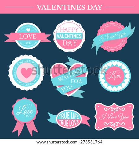 love romantic set retro label template of emblem element for your product or design, web and mobile applications with text. Vector illustration with thin lines isolated icons on stamp symbol.  - stock vector