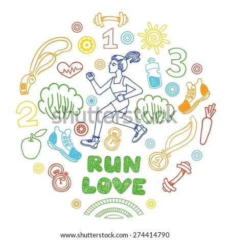 Love run girl color vector icons set. Healthy lifestyle background - stock vector
